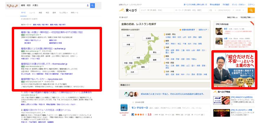 PPC(検索広告とディスプレイ広告)の表示イメージ