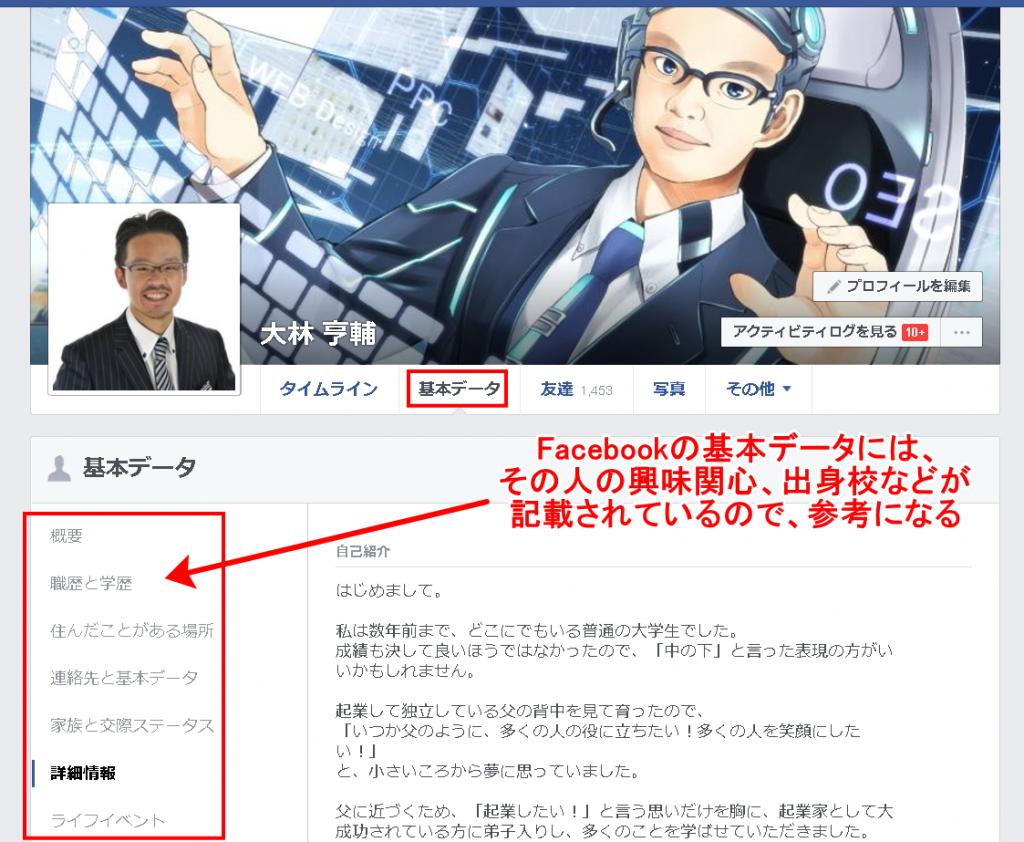 Facebookの基本データには、その人の興味関心、出身校などが記載されているので、参考になる