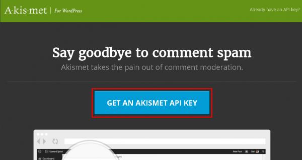 「GET AN AKISMET API KEY」をクリック