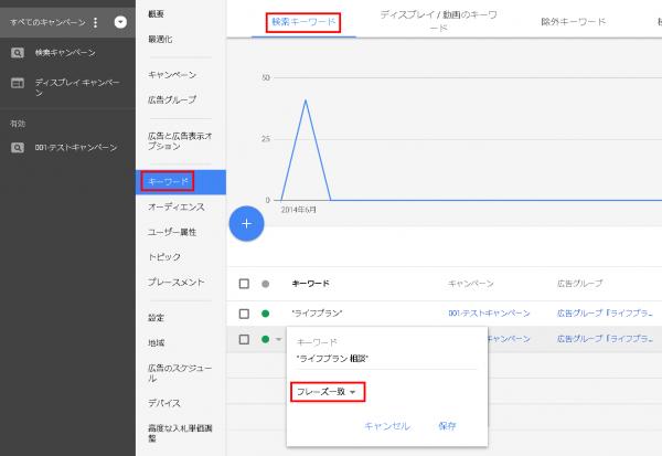 Googleアドワーズ(新管理画面)でのマッチタイプの変更手順