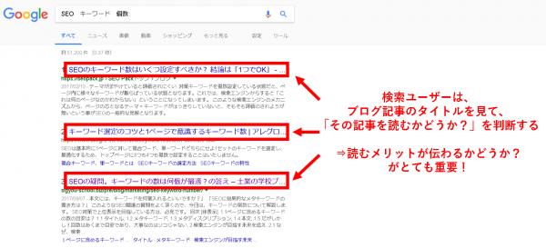 検索ユーザーは、ブログ記事のタイトルを見て、「その記事を読むかどうか?(アクセスするかどうか?)」を判断する ⇒ 読むメリットが伝わるかどうか?がとても重要!