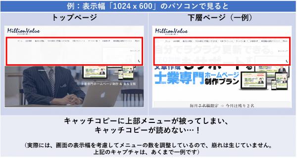 例:表示幅「1024 x 600」のパソコンで見ると
