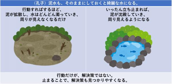 (孔子)泥水も、そのままにしておくと綺麗な水になる。